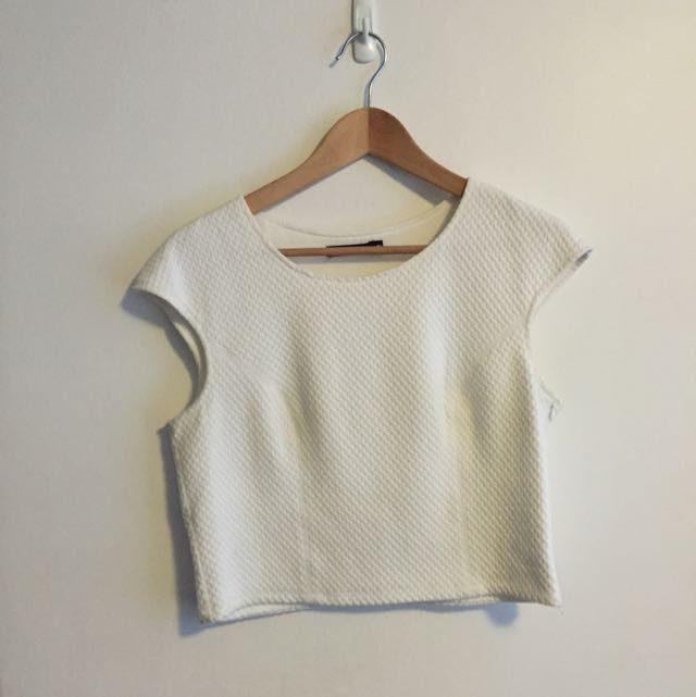 Portmans White Quilted Crop Size: M