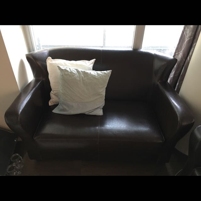 Set Of Brown Leather Couch