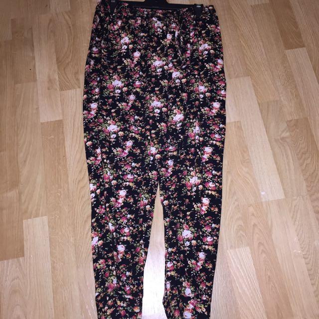 SUPRE floral Harem Ankle Cuff Pants Sz L