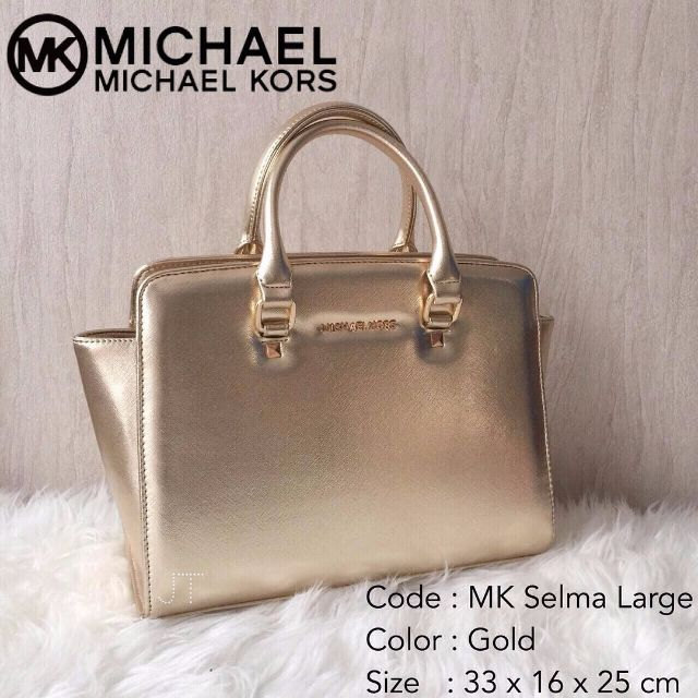 81a9576cce83 Tas Michael Kors Selma Large Gold, Women's Fashion, Women's Bags ...