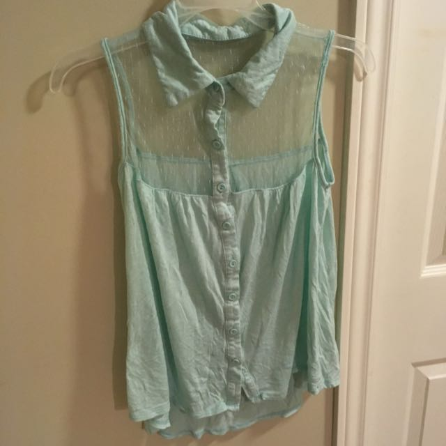 Turquoise Flowy Buttoned & Collared Shirt