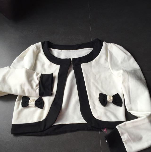 White And Black Bolero Size S