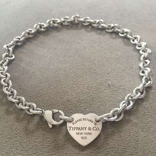 Authentic Tiffany & Co Heart Tag Choker Chain Sterling Silver