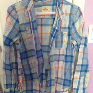 Blue Hollister Plaid Shirt