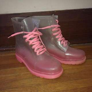 Size 40; Clear Rain Boots With Barbie Pink Soles