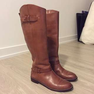 Halogen Cognac Leather Riding Boots