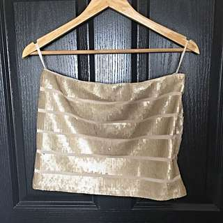 Sequined Champagne Skirt