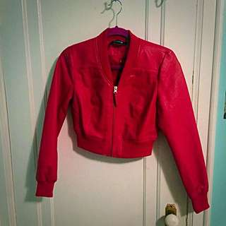 Red Faux Leather Jacket Forever21