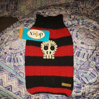 New Dog Sweater Black And Red .Skull