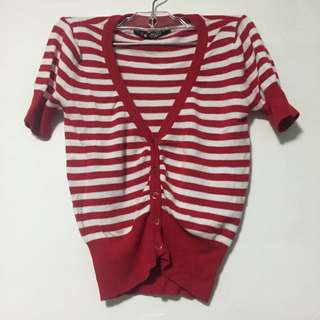 SWS Red Striped Buttoned Top
