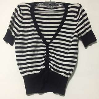 SWS Black Striped Buttoned Top