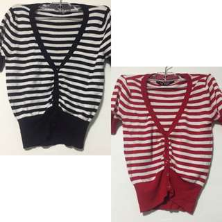 SWS Buttoned Striped Tops - Red & Black Bundle