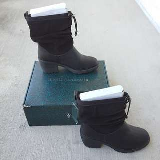 Never Worn Genuine Leather Boots - Waterproof Suede with Sheepskin