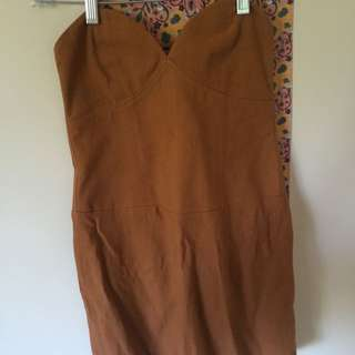 Brown Strapless Top