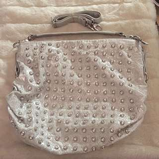 Silver Handbag With Sparkly Studs