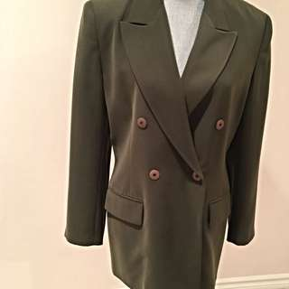 Votre Non Size 10 Olive Coloured Double Breasted Blazer