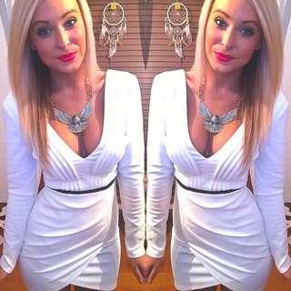 White V Neck Party Dress