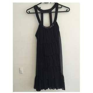Rachel Gilbert Black Embellished Neckline Dress Size: 1 (au 8)