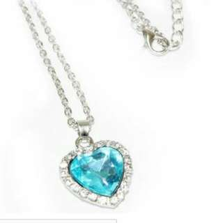 Titanic Heart Crystal Clear Silver Necklace