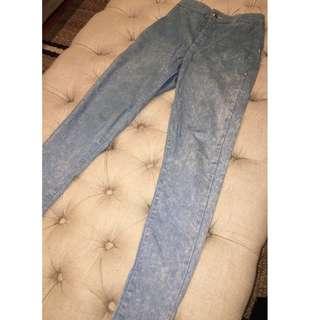 Topshop Acid Blue Joni High Waisted Jeans