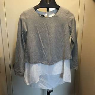 Grey blouse size S w open back
