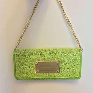 蘋果綠 亮片鍊包/長夾