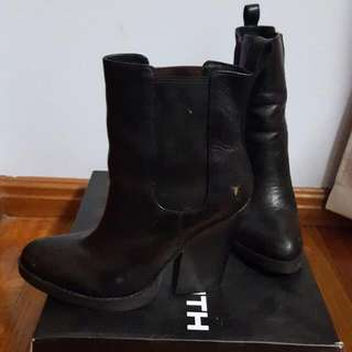 WINDSOR SMITH OLIVIA BLACK LEATHER BOOT