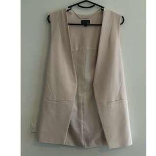 Topshop Sleeveless Blazer Blush Size: 8 (Runs Large)