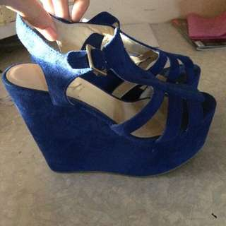 Blue Wedge Heels