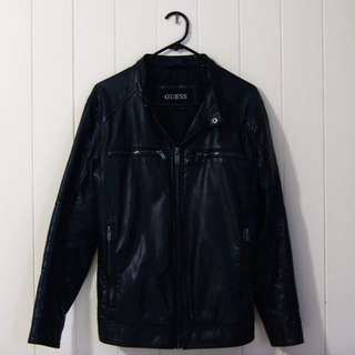 GUESS Black Leather Jacket W/ Retractable Hoodie -Small S