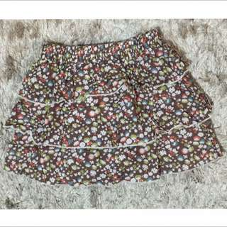 •Brown Layered Skirt
