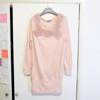 Pink Long Sleeves Dress Or Blouse