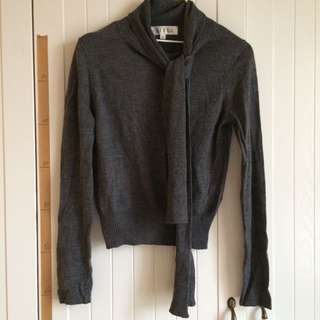 AIRFA專櫃品牌高質感設計圍巾領短版深灰色針織上衣