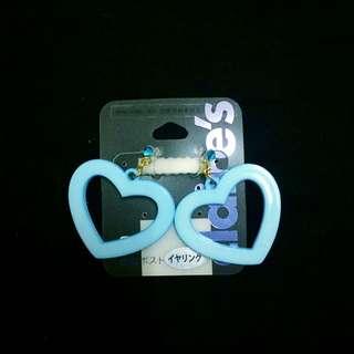 夾式耳環藍色愛心