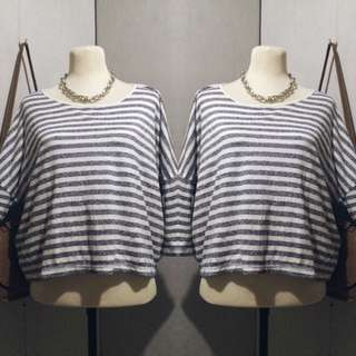 💝Striped Batwing Pullover
