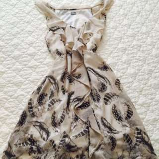 Elegant Feather Dress With Electric Waist