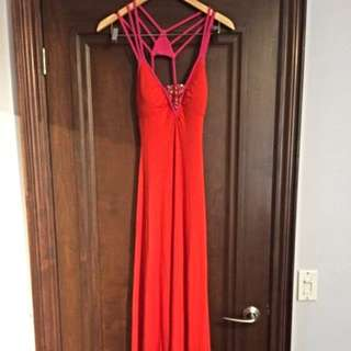 BEBE Long Orange Dress With Pink Straps And Bead Detail
