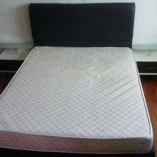 URGENT Leather Bed Frame + Mattress