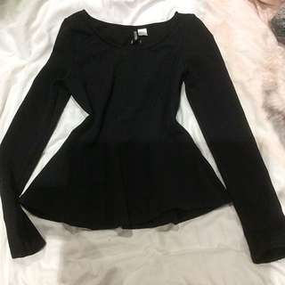 Peplum Long Sleeves Top