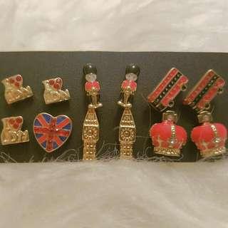 6 Pairs Brand New London Stud Earrings