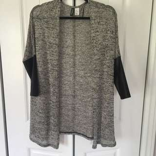 Xs H&M Short Sleeved Over Sweater With Leather Sleeves