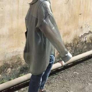 金屬涼感透視襯衫