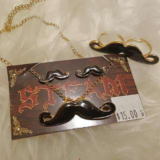 Set Of Moustache Earrings Necklace and Ring