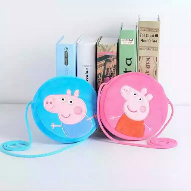 男童女童佩佩豬毛絨圓形小包背包書包零錢包