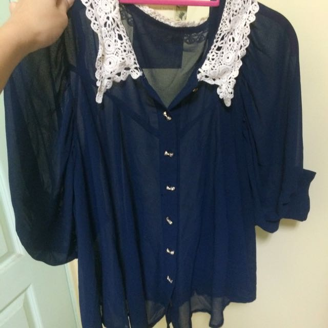 深藍色 蝴蝶結釦子 透膚雪紡上衣 #200元雪紡單品