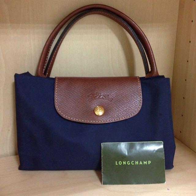 正品 近全新Longchamp 深藍色短把中款尼龍手提包