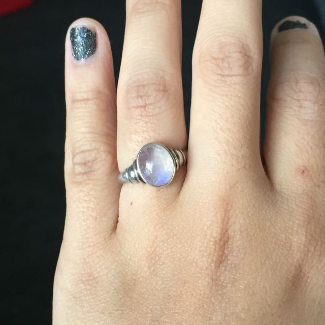 authentic vintage moonstone silver ring