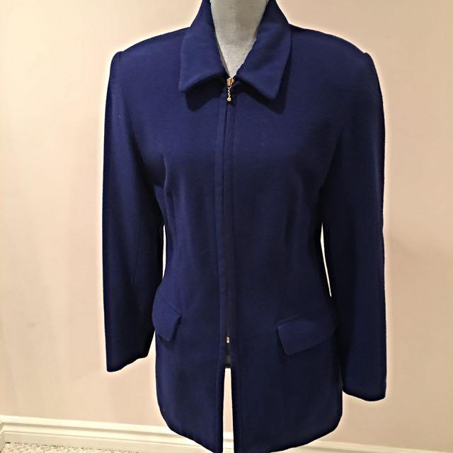 Blue Winter Blazer By Della Spiga, Size 8