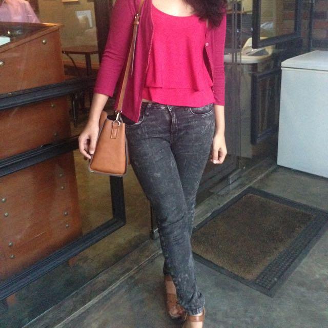 Celana Jeans Hitam Artsy Color Box