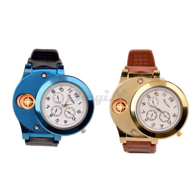 Fashion USB Lighter Watches Silicone Quartz Watch Men Women